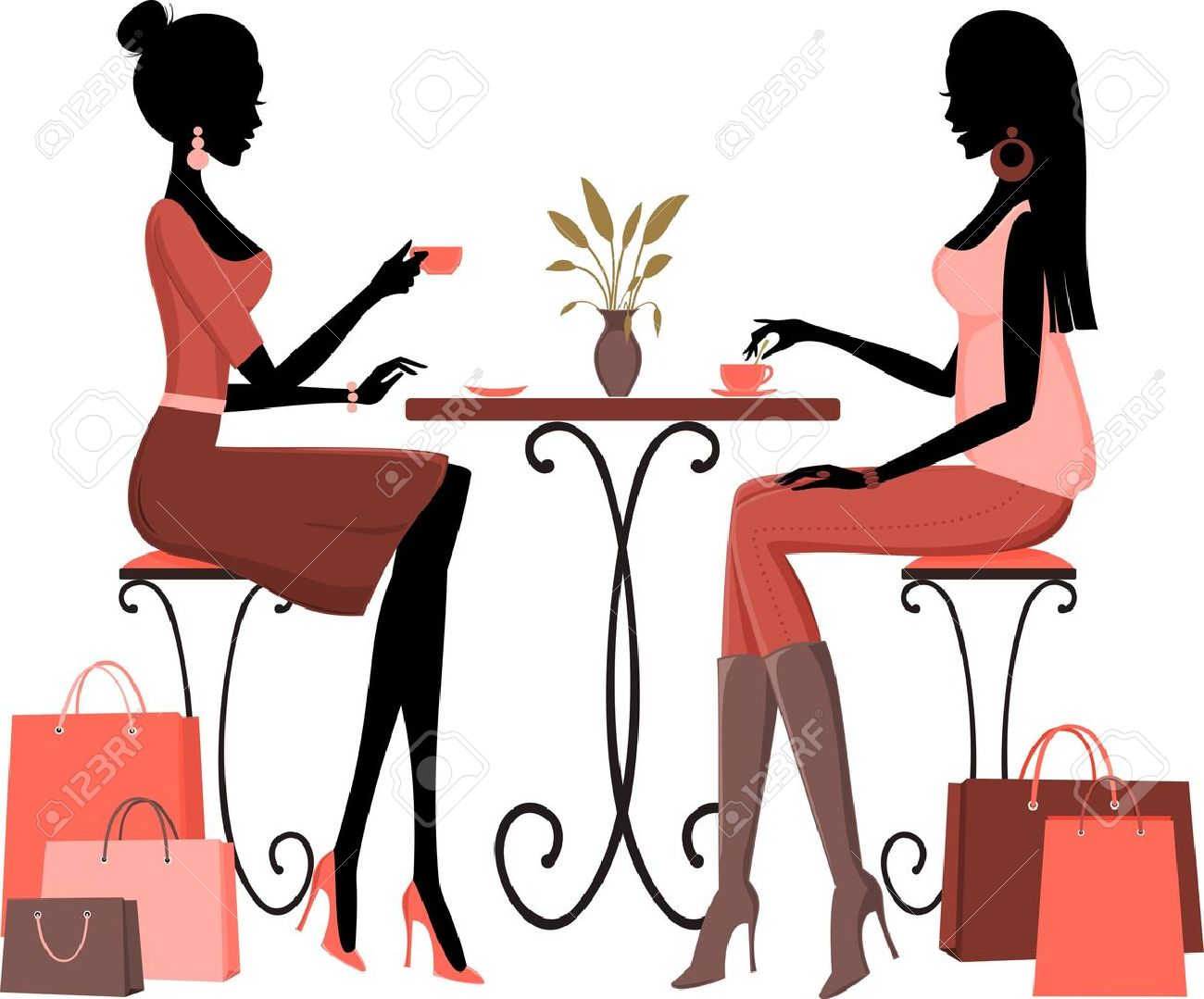 Illustration of two young women having coffee after a day of shopping Stock Vector - 12906112