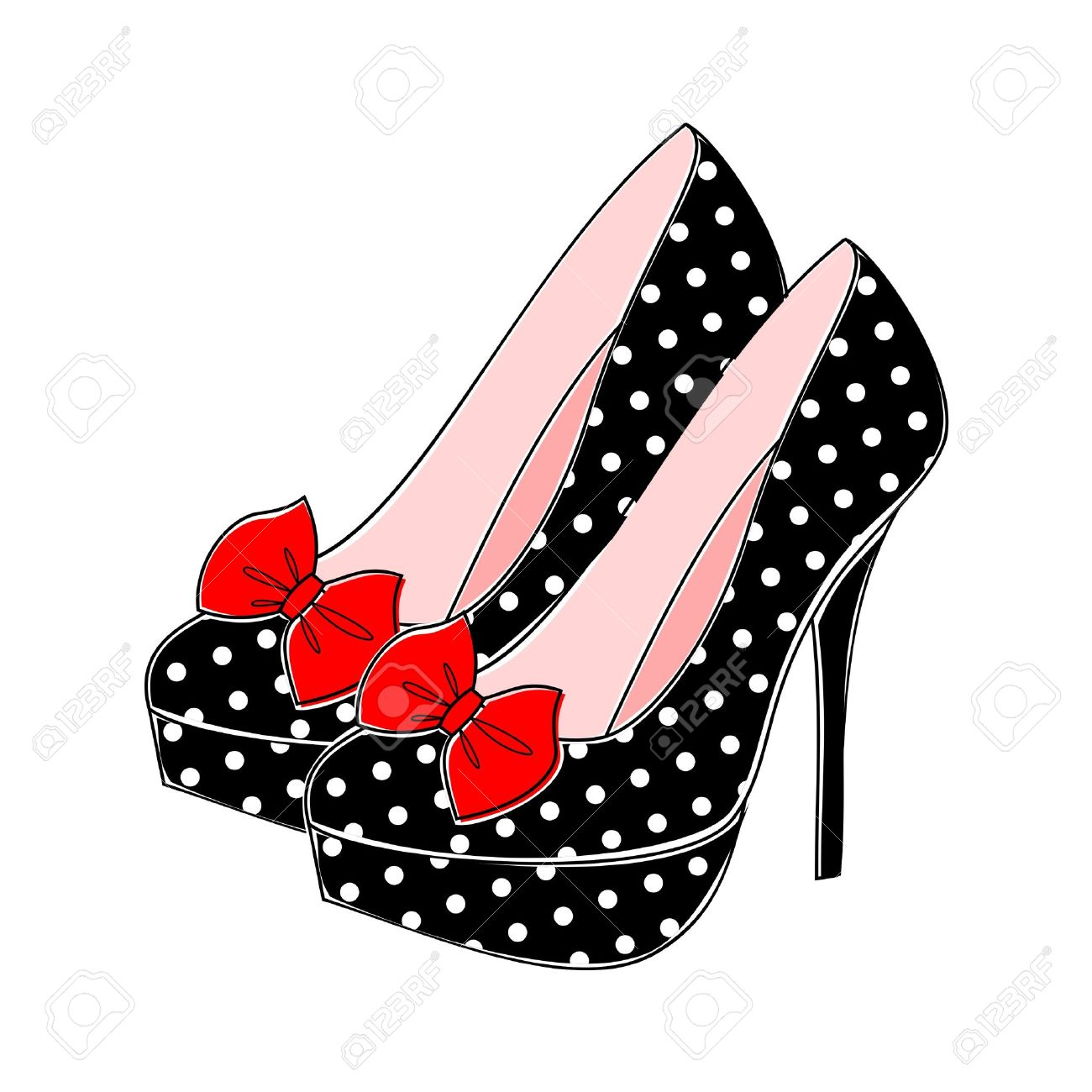 Retro Style Shoes With Polka Dots