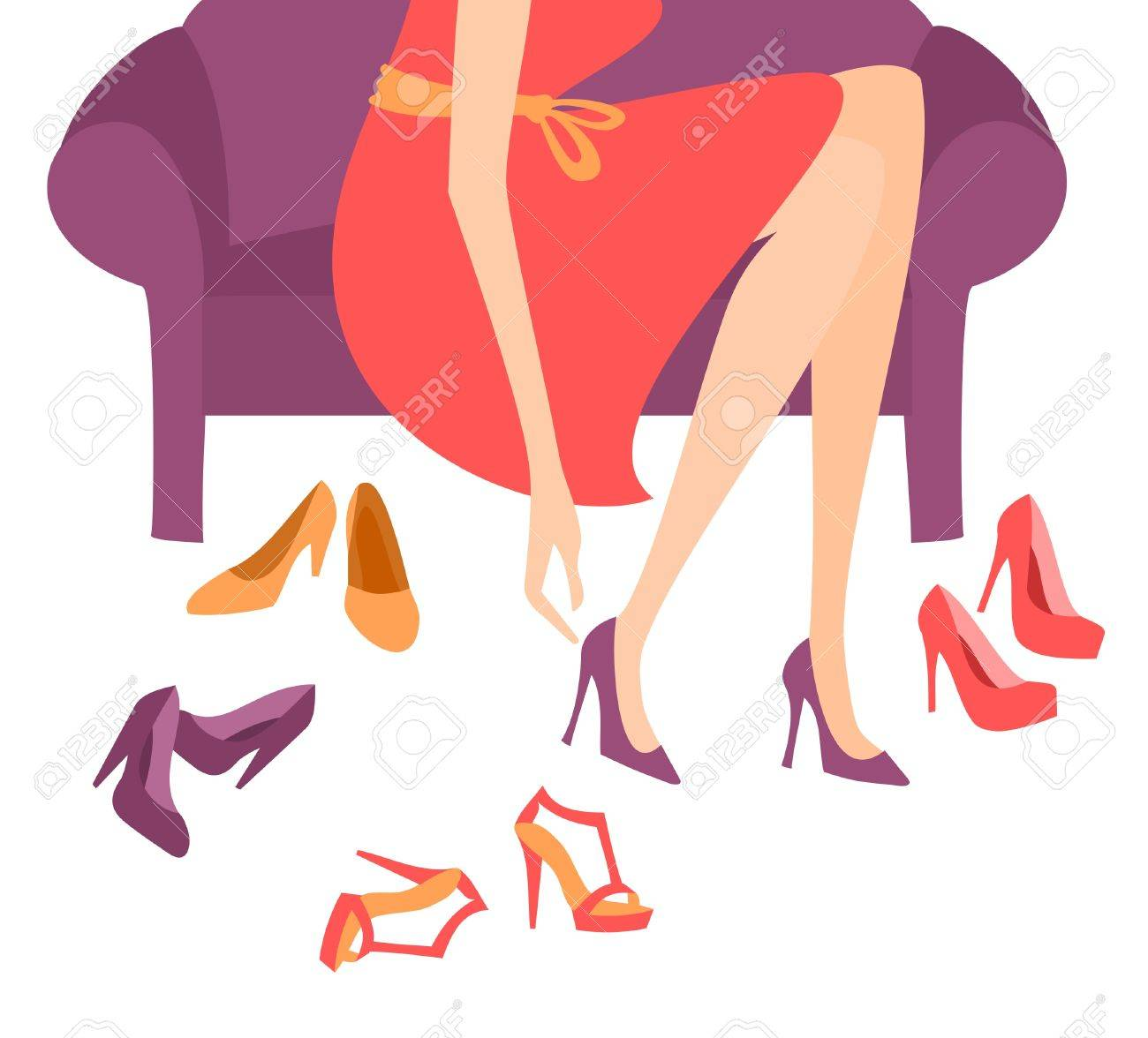 Illustration of a woman trying on elegant high heels Stock Vector - 12906137