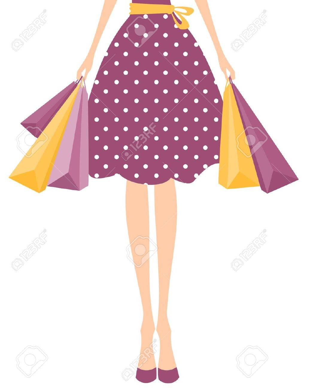Illustration of a girl in cute polka dot dress holding shopping bags. - 12980877