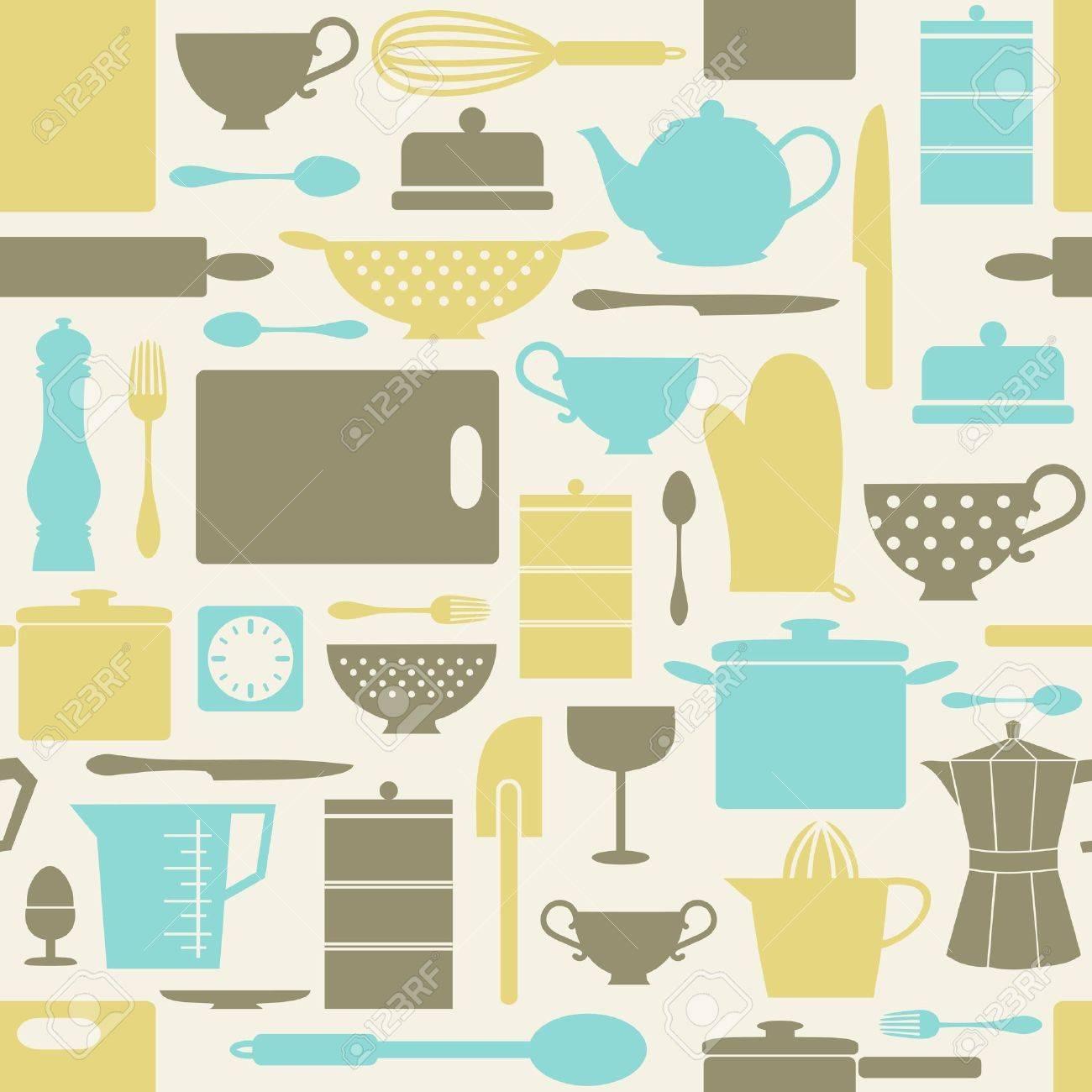 Archivio Fotografico   Seamless Pattern Con Oggetti Da Cucina In Stile  Retrò.