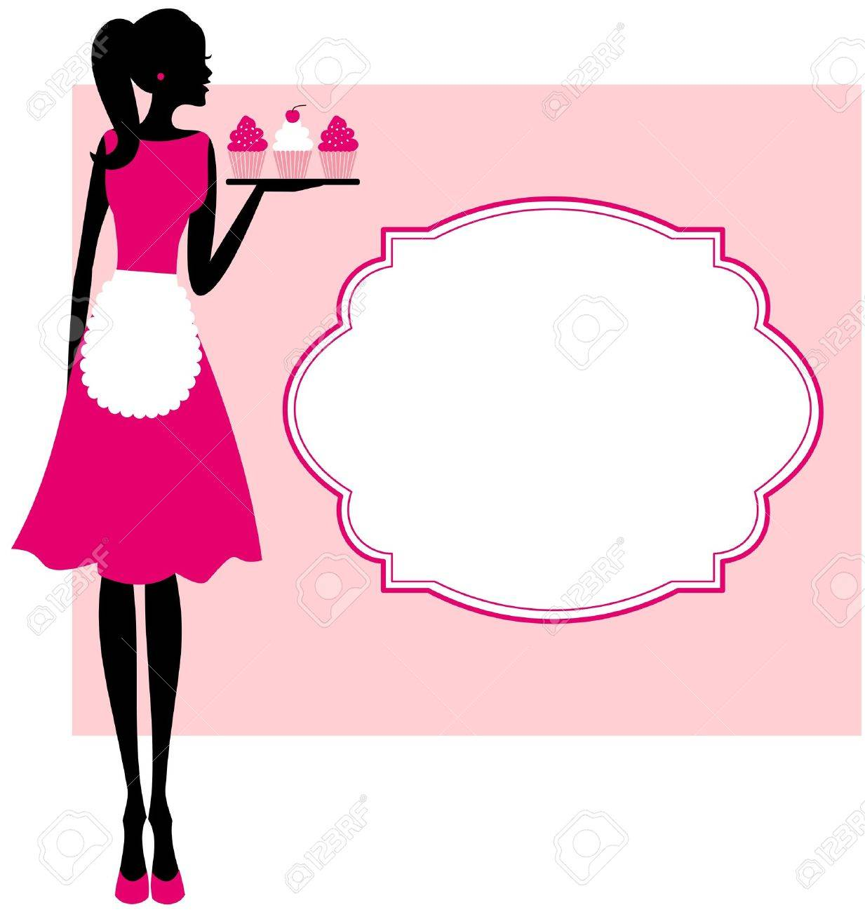 Illustration of a cute retro girl holding a tray with cupcakes and a frame against pink background Stock Vector - 13067793