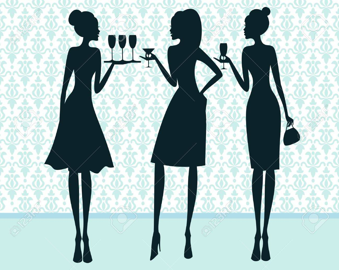 Illustration of three elegant women at a cocktail party Stock Vector - 13067804