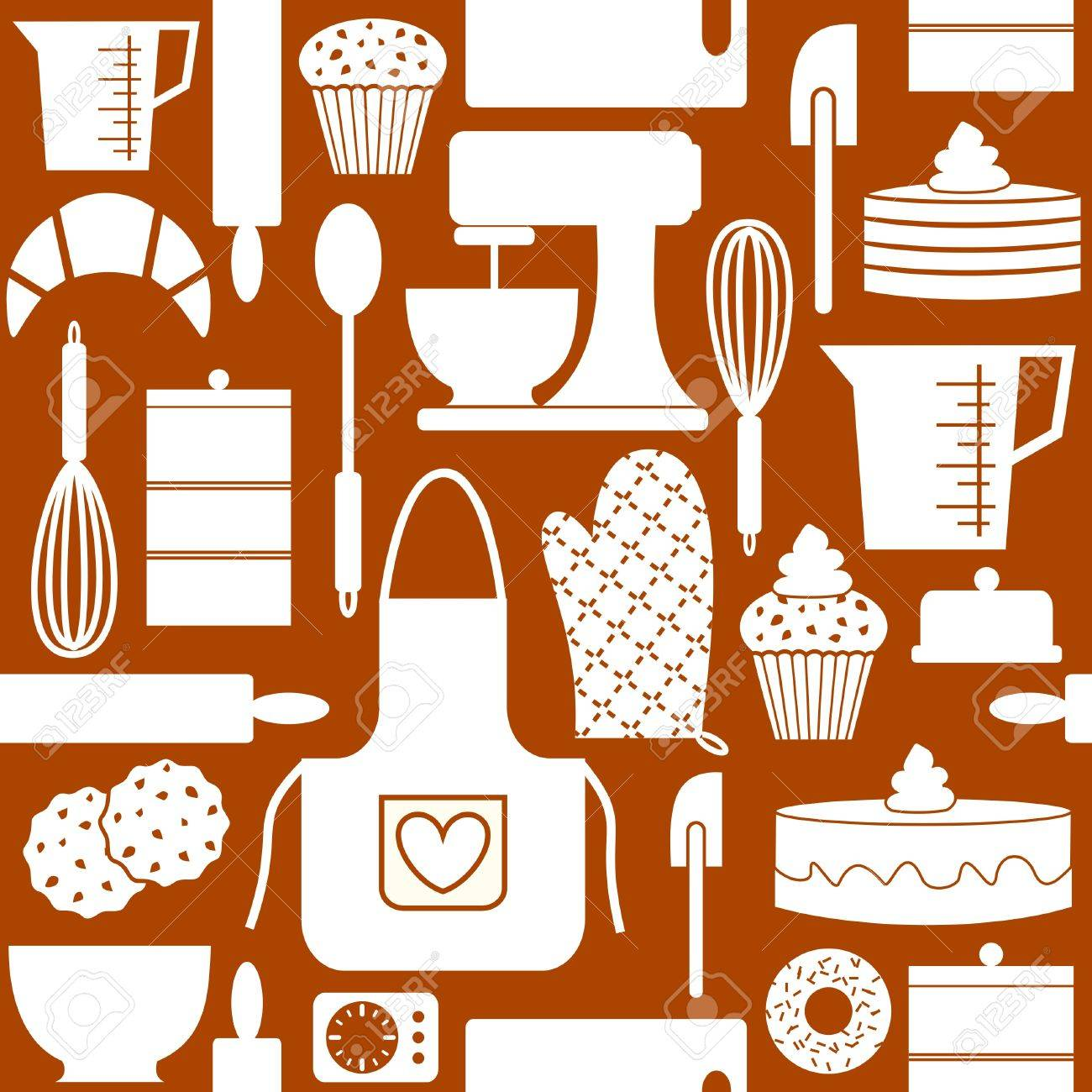 Seamless pattern in retro style with kitchen and baking items  n Stock Vector - 13172845