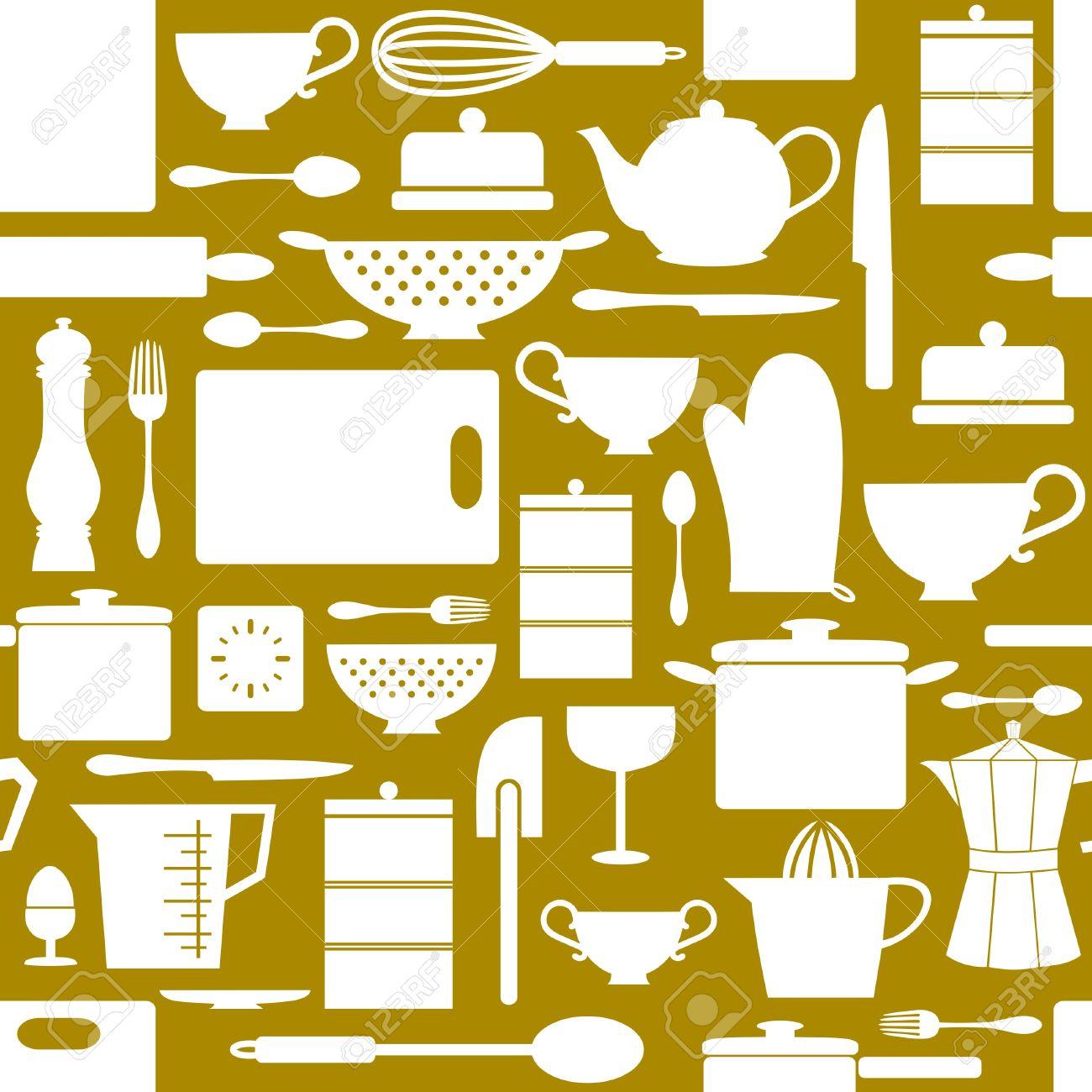 Seamless Pattern Con Oggetti Da Cucina In Stile Retrò Clipart ...