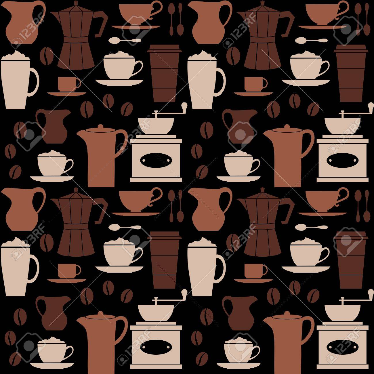 Seamless repetitive pattern with coffee related items Stock Vector - 13208579