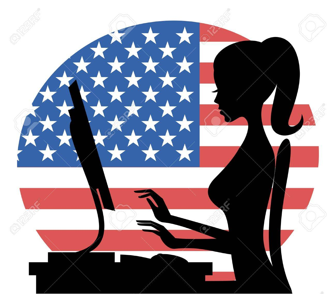 Illustration of a young woman working on computer with the American flag in the background. Stock Vector - 13319207