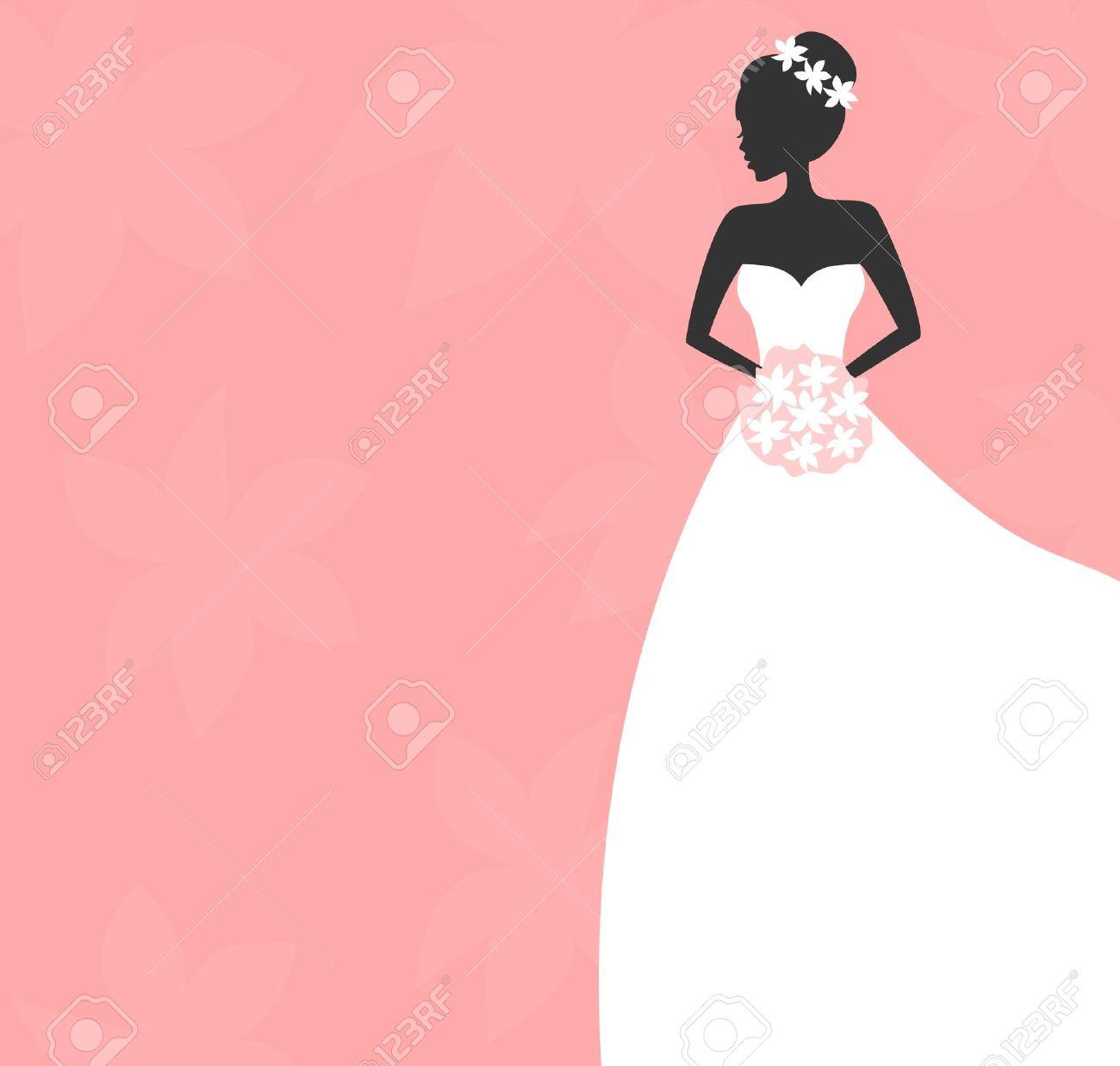 Ilustración De Una Hermosa Novia Con Un Ramo. Despedida De Soltera ...