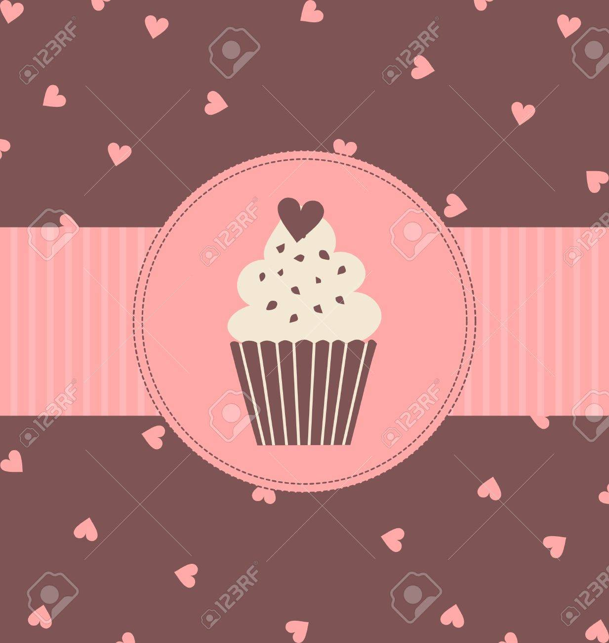 Illustration of a cute cupcake in pastel pink and brown colors. Stock Vector - 13319214
