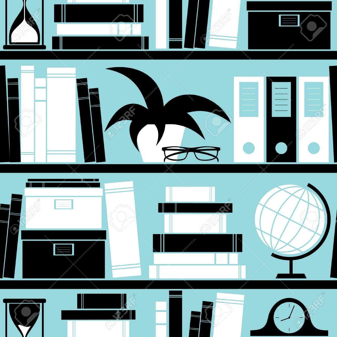 Seamless pattern with different objects placed on a bookshelf, Stock Vector - 13361196