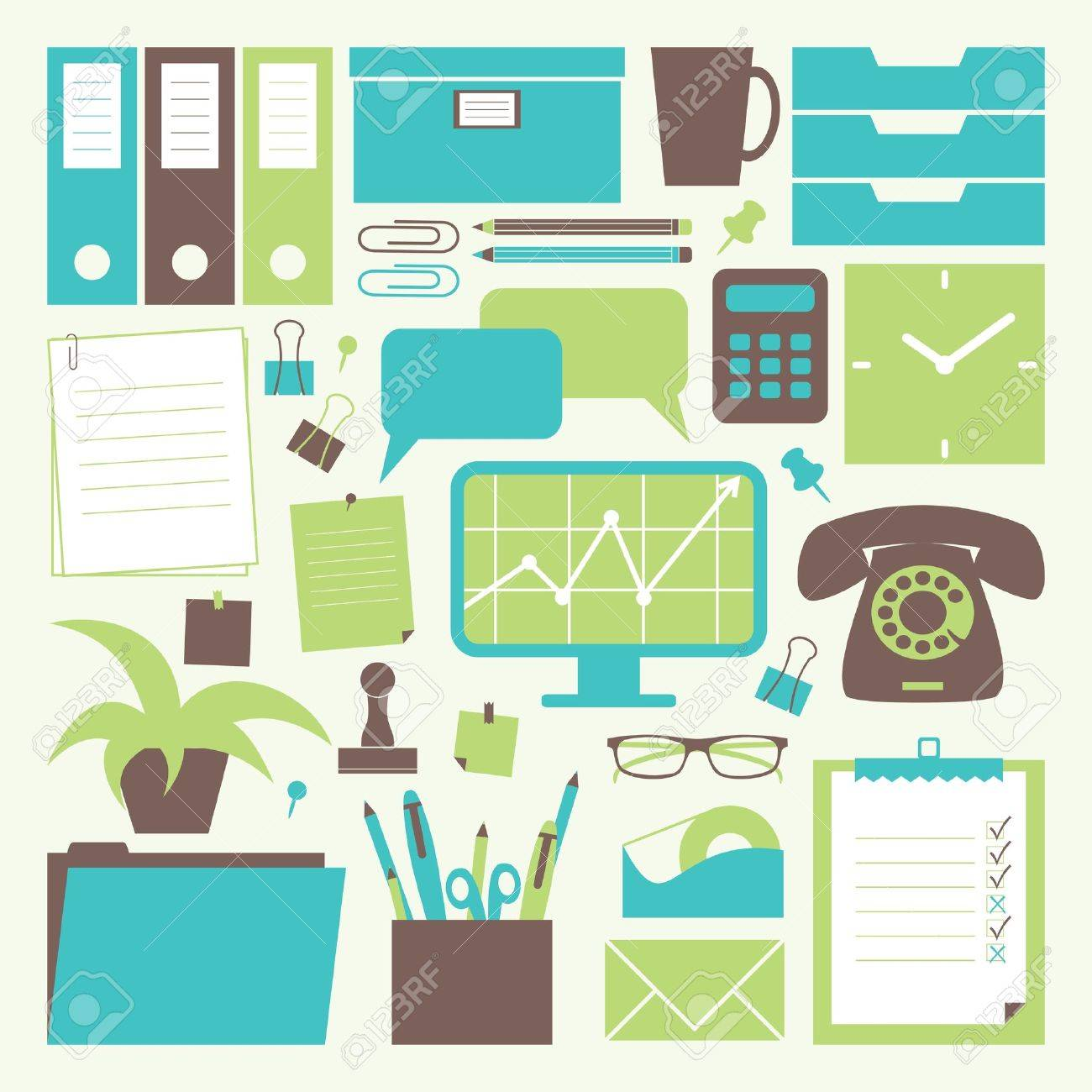 A collection of office related objects. Stock Vector - 13361191