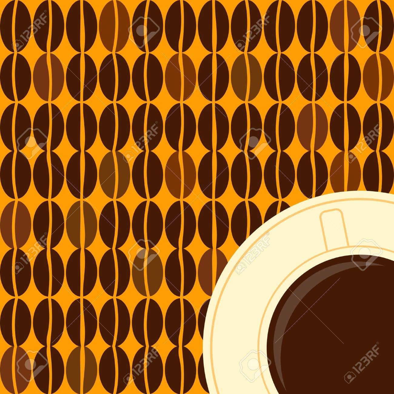 Illustration of a coffee cup and coffee beans in retro style Stock Vector - 13416772