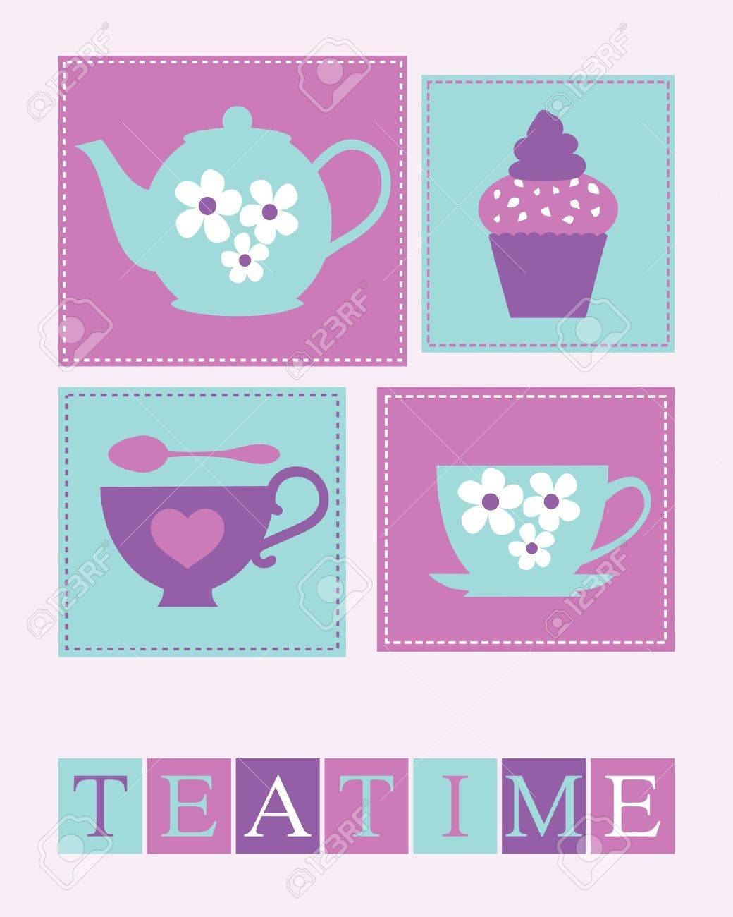 Elegant tea party invitation template with teacups cartoon vector - Teapot Illustration Of Cute Teacups Teapot And A Cupcake