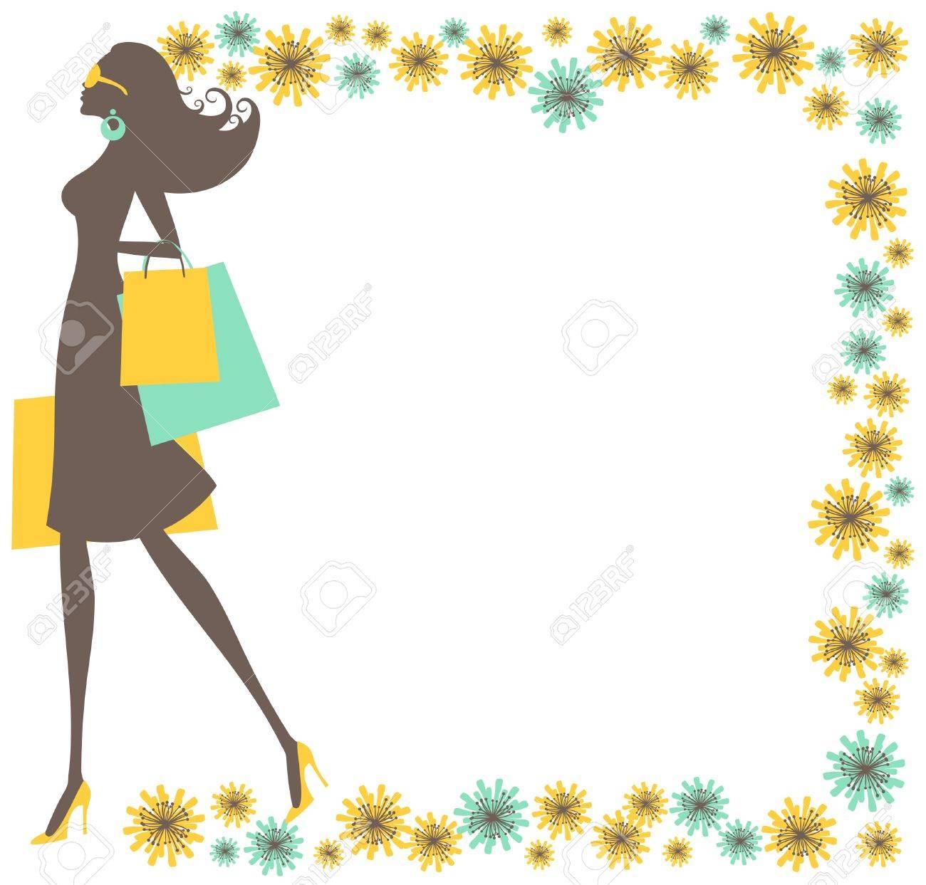 美しい花のフレームで囲まれた買い物袋を保持している若いおしゃれな女性