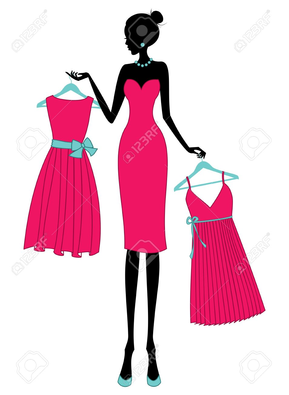 Illustration of a young elegant woman shopping for a dress. Stock Vector - 13533495
