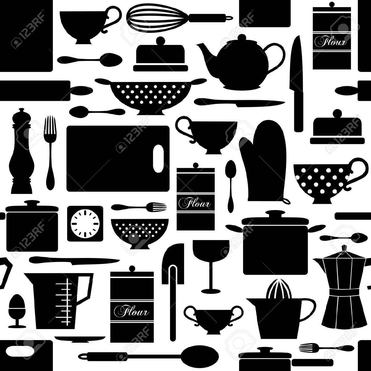 oggetti cucina foto royalty free immagini immagini e archivi  - oggetti cucina seamless pattern con oggetti da cucina in bianco e nerovettoriali