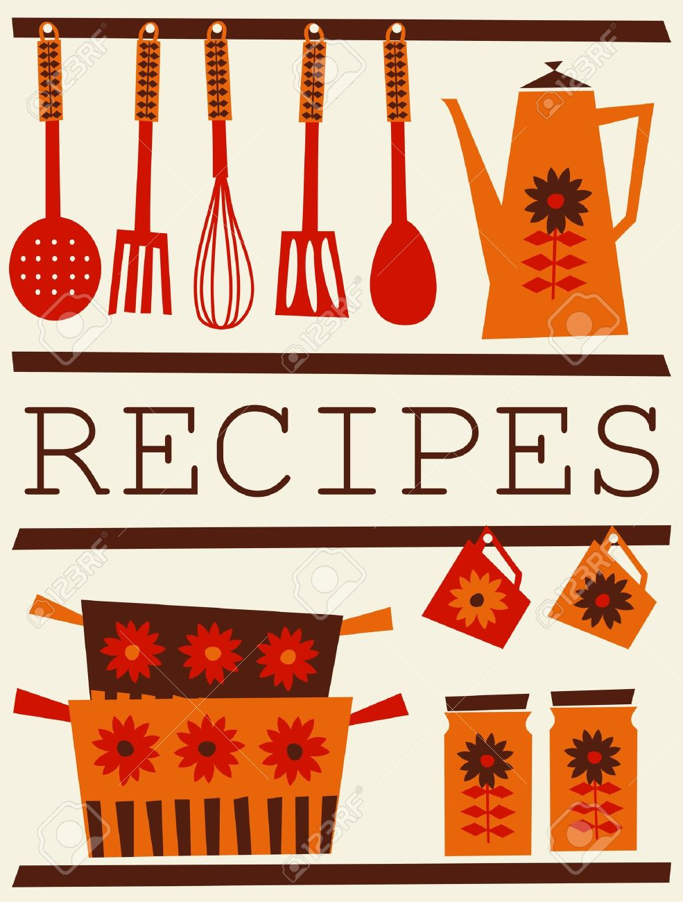 Red Kitchen Accessories Illustration Of Kitchen Accessories In Retro Style Recipe Card