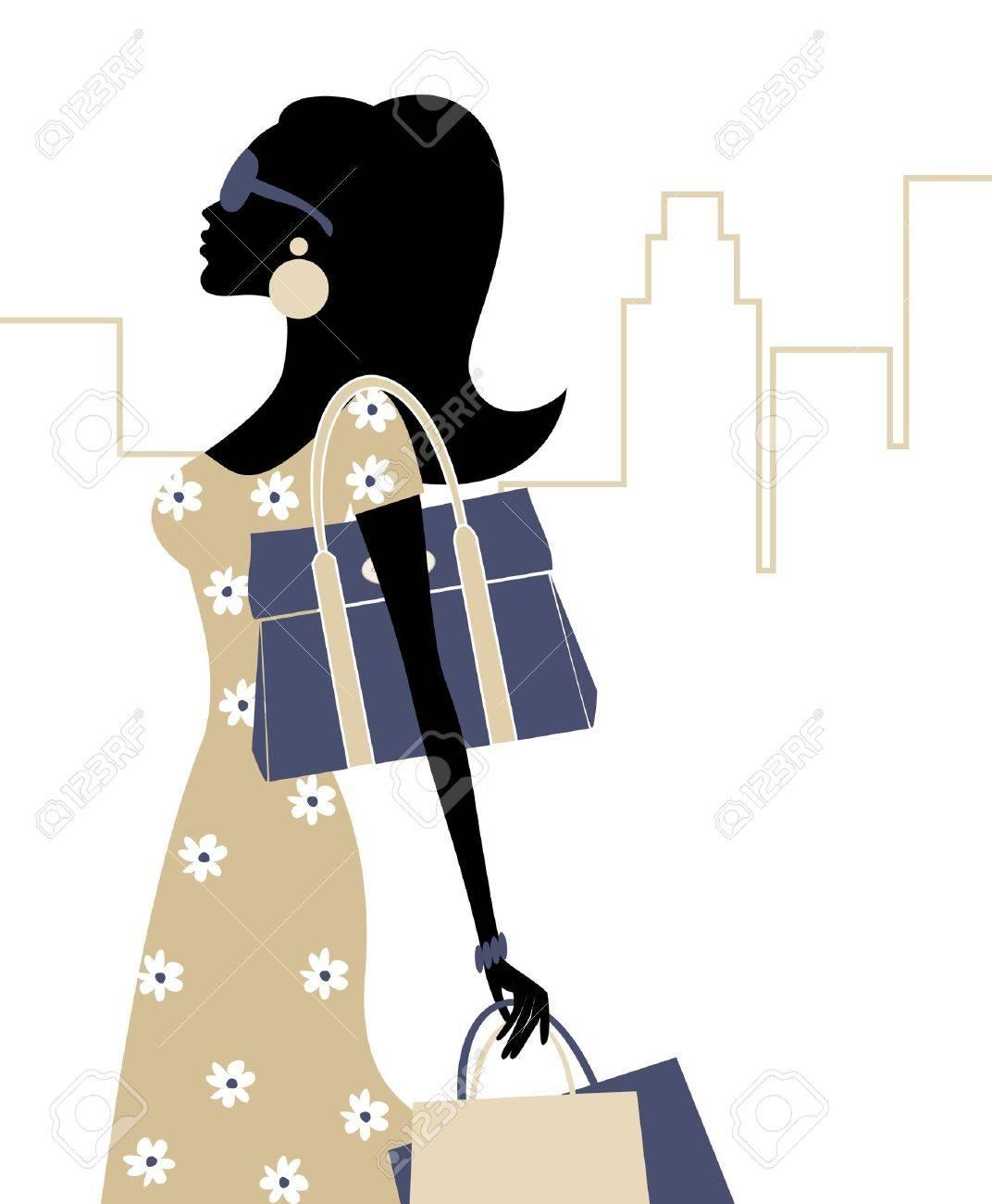 買い物袋を持つ若いおしゃれな女性のイラスト。 ロイヤリティフリー