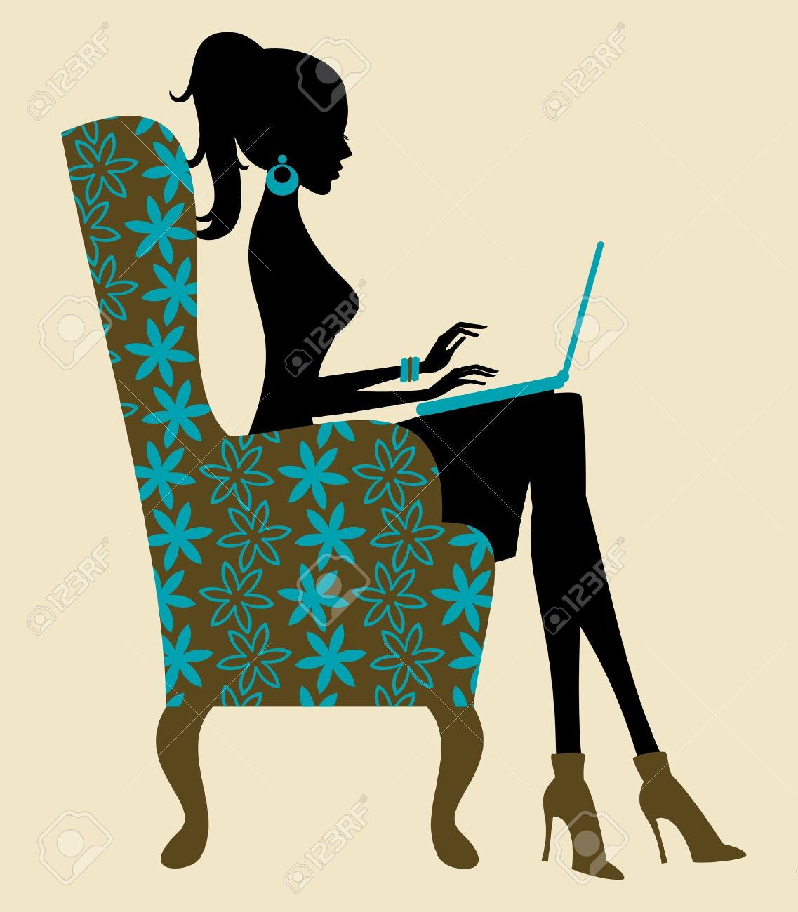 Illustration of a young woman working on laptop Stock Vector - 13750175