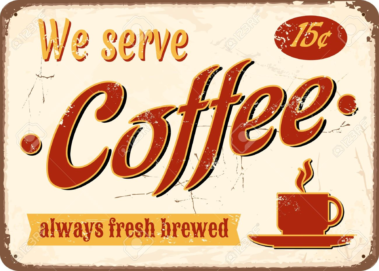 Vintage style tin sign Fresh Brewed Coffee. Stock Vector - 13926757