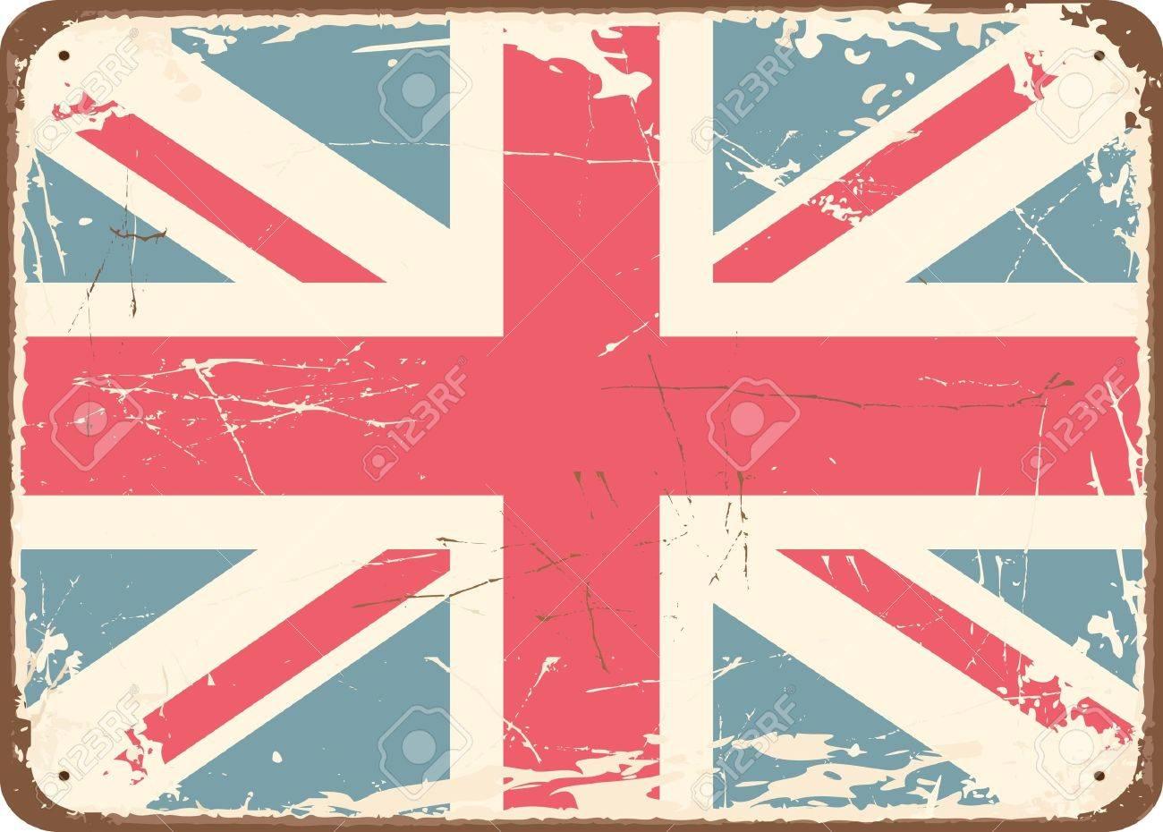 Vintage British Flag Wallpaper Vintage style tin sign with