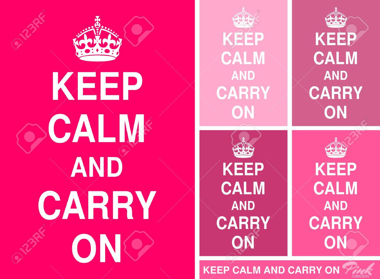 Keep Calm and Carry On posters in different shades of pink - 13987529