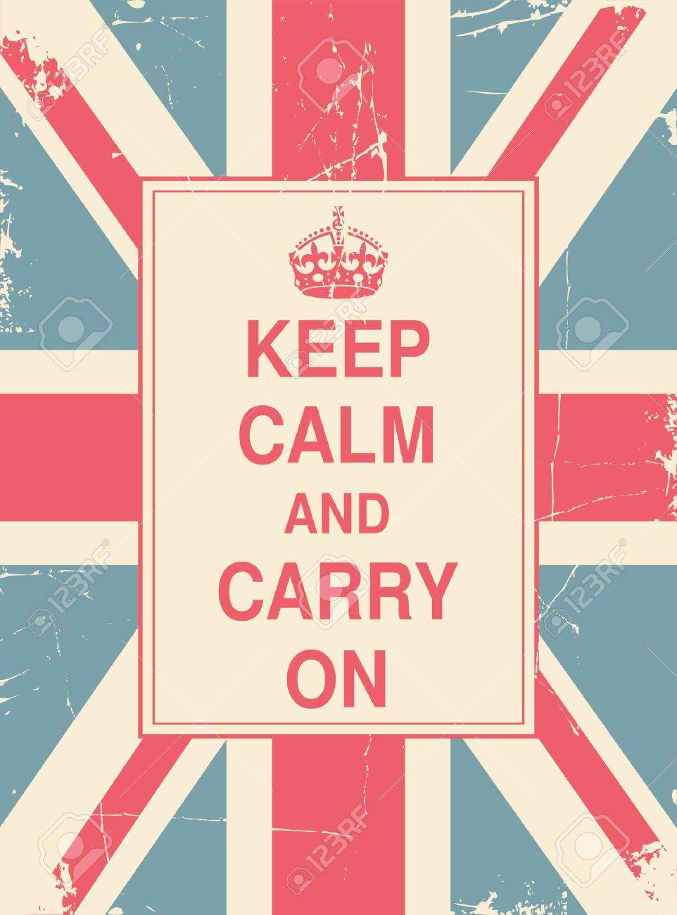 Keep Calm and Carry On against the British flag Stock Vector - 13987535
