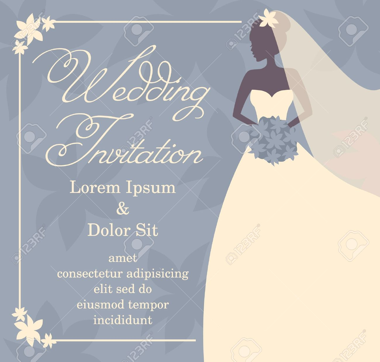 Wedding Invitation Template With Beautiufl Brides Silhouette – Brides Invitation Templates