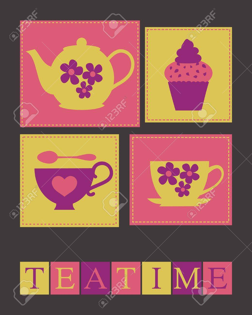 Illustration of cute teacups, teapot and a cupcake. Stock Vector - 14125930