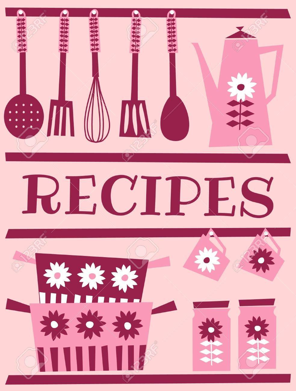 Retro Style Kitchen Accessories Illustration Of Kitchen Accessories In Retro Style Recipe Card