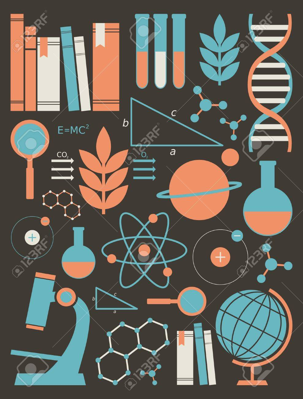 A set of science and education symbols in orange and blue. - 14285923