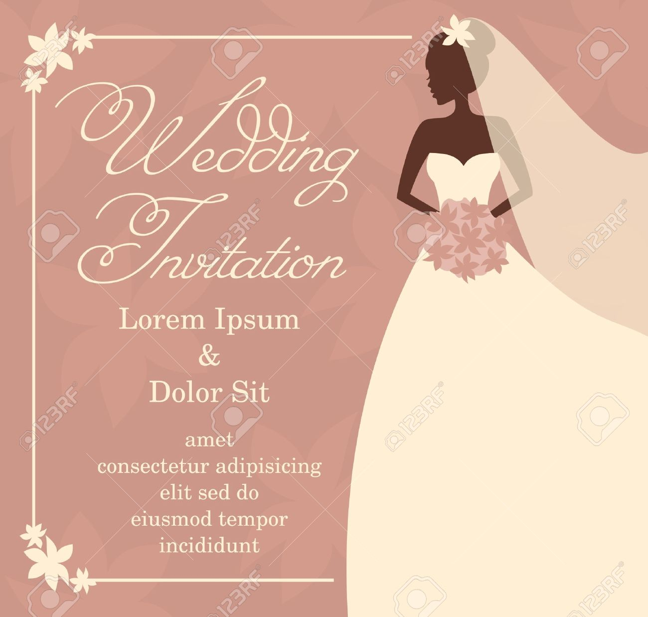 illustration of a beautiful bride holding a bouquet bridal shower wedding invitation template stock vector
