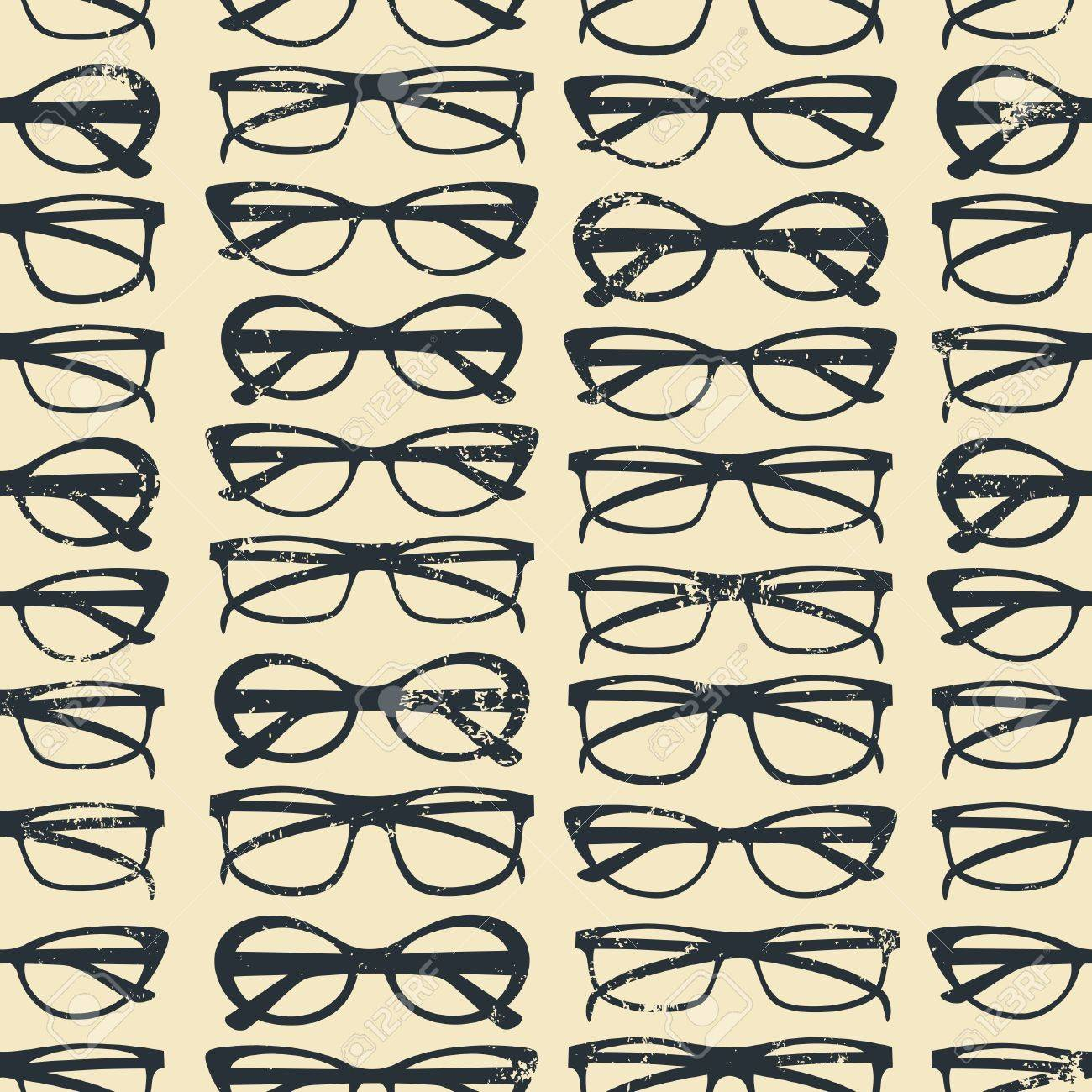 Seamless pattern with glasses in vintage style Stock Vector - 14518783