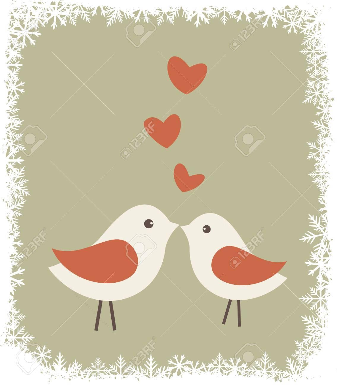 2 つのかわいい鳥恋イラストのイラスト素材ベクタ Image 15436411