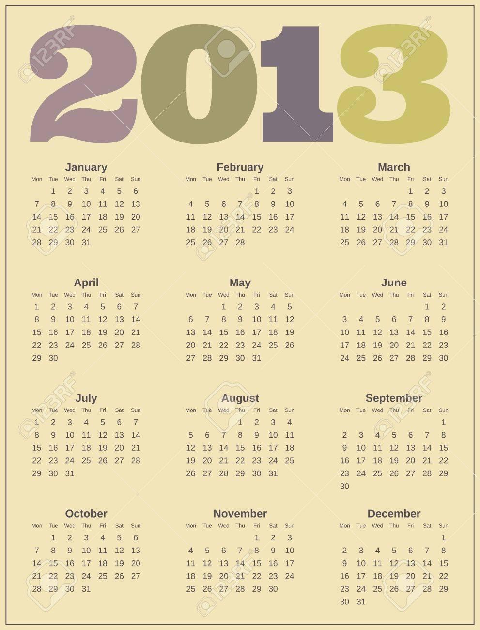 Calendar design for 2013 Stock Vector - 16915029