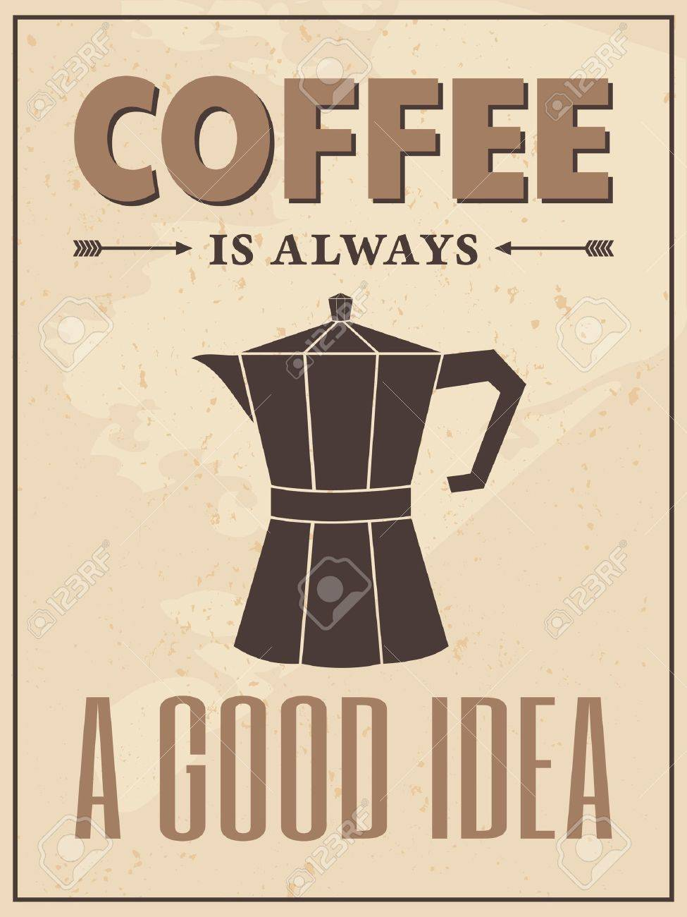 Poster in vintage style with a coffee maker and text Stock Vector - 16915028