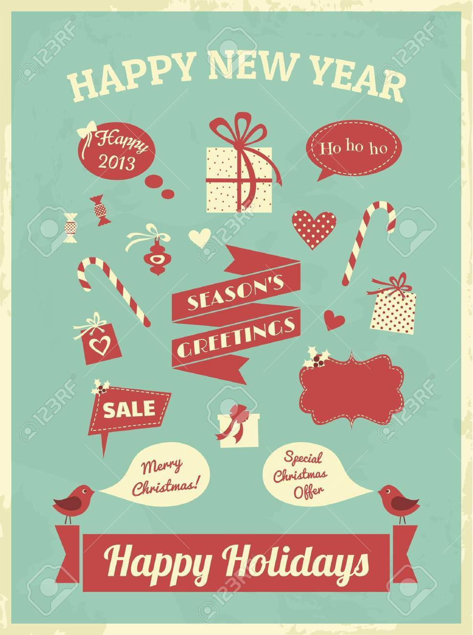 Vintage style design elements for Christmas Stock Vector - 16915023