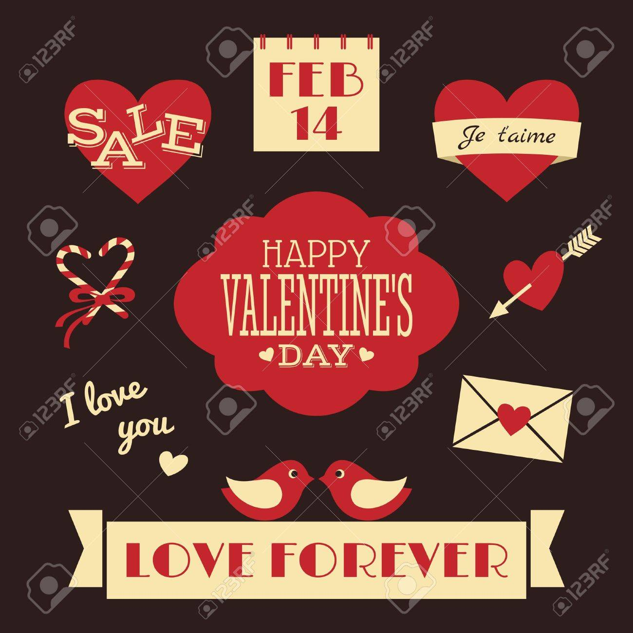 Valentines Day Retro Collection Stock Vector - 17239998