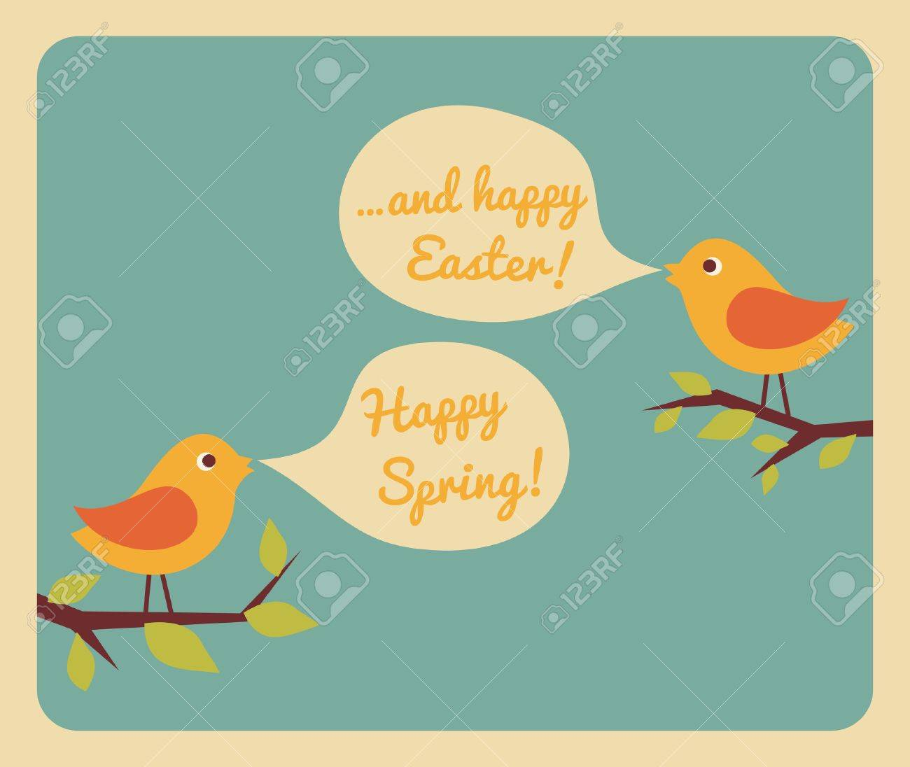 Retro style design for Easter greeting card. Stock Vector - 17688939