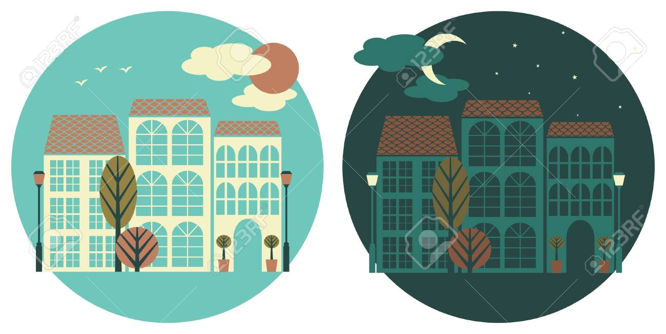 Day and night in a little town. Stock Vector - 18420244