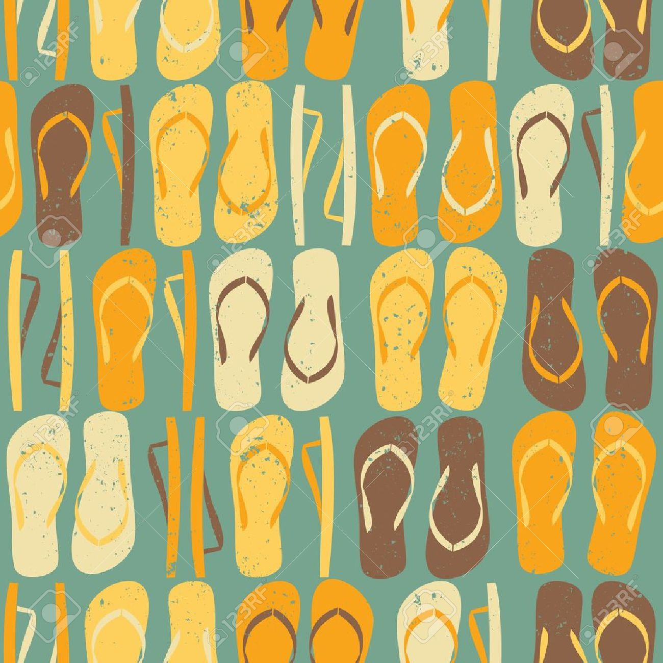 8b3307c5bd47 Vintage Style Seamless Pattern With Colorful Flip Flops. Royalty ...