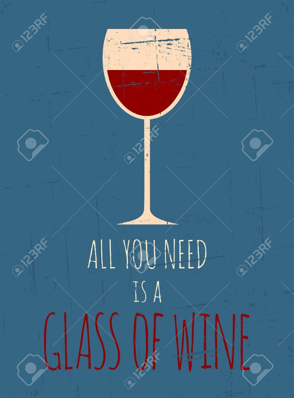 Vintage style poster with a glass of red wine Stock Vector - 18979849