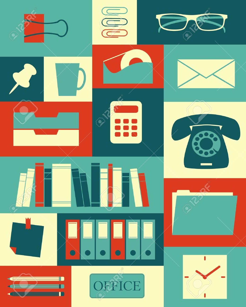 Retro style poster with different office items Stock Vector - 18979857