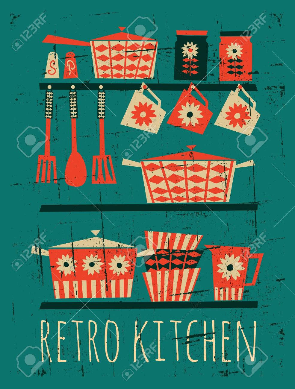, retro kitchen cliparts, stock vector and royalty free retro, Kitchen design