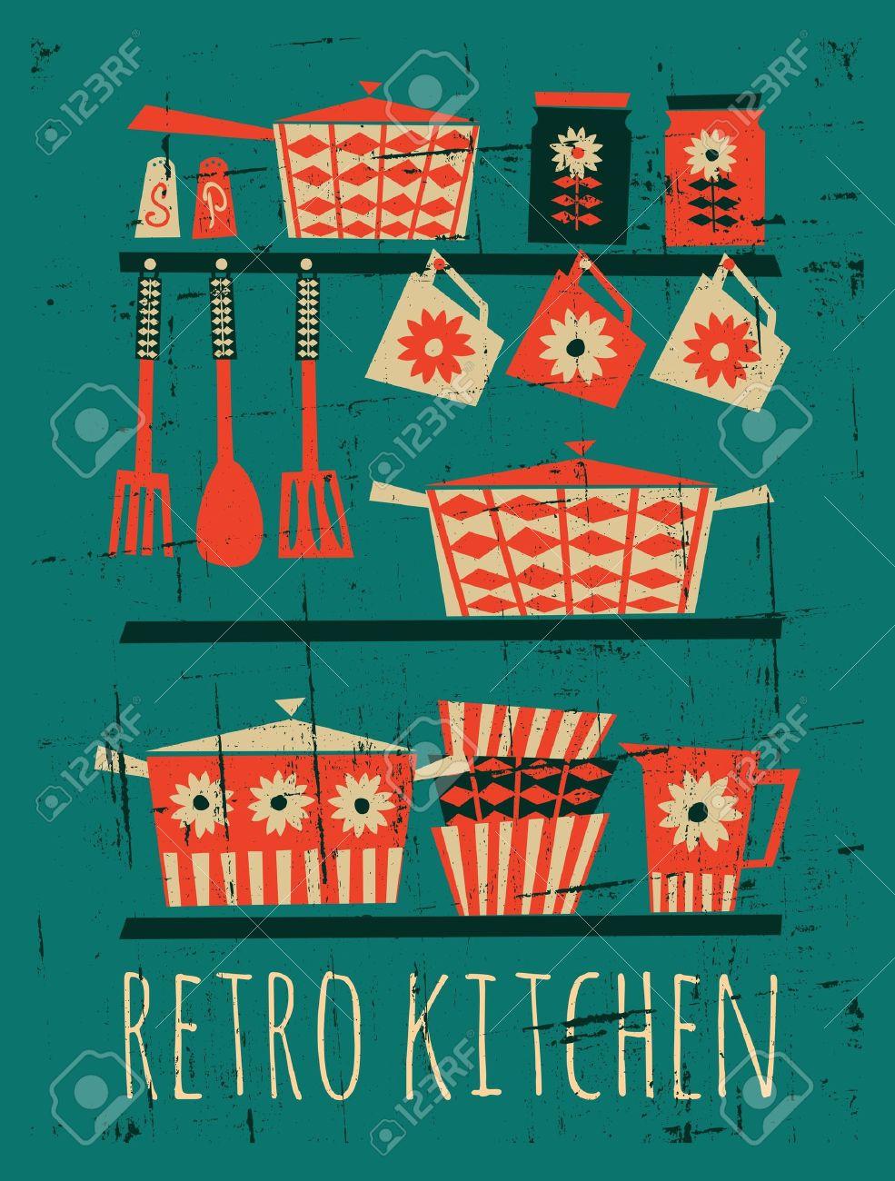 Poster Mit Küche Artikel Im Retro-Stil Lizenzfrei Nutzbare ...