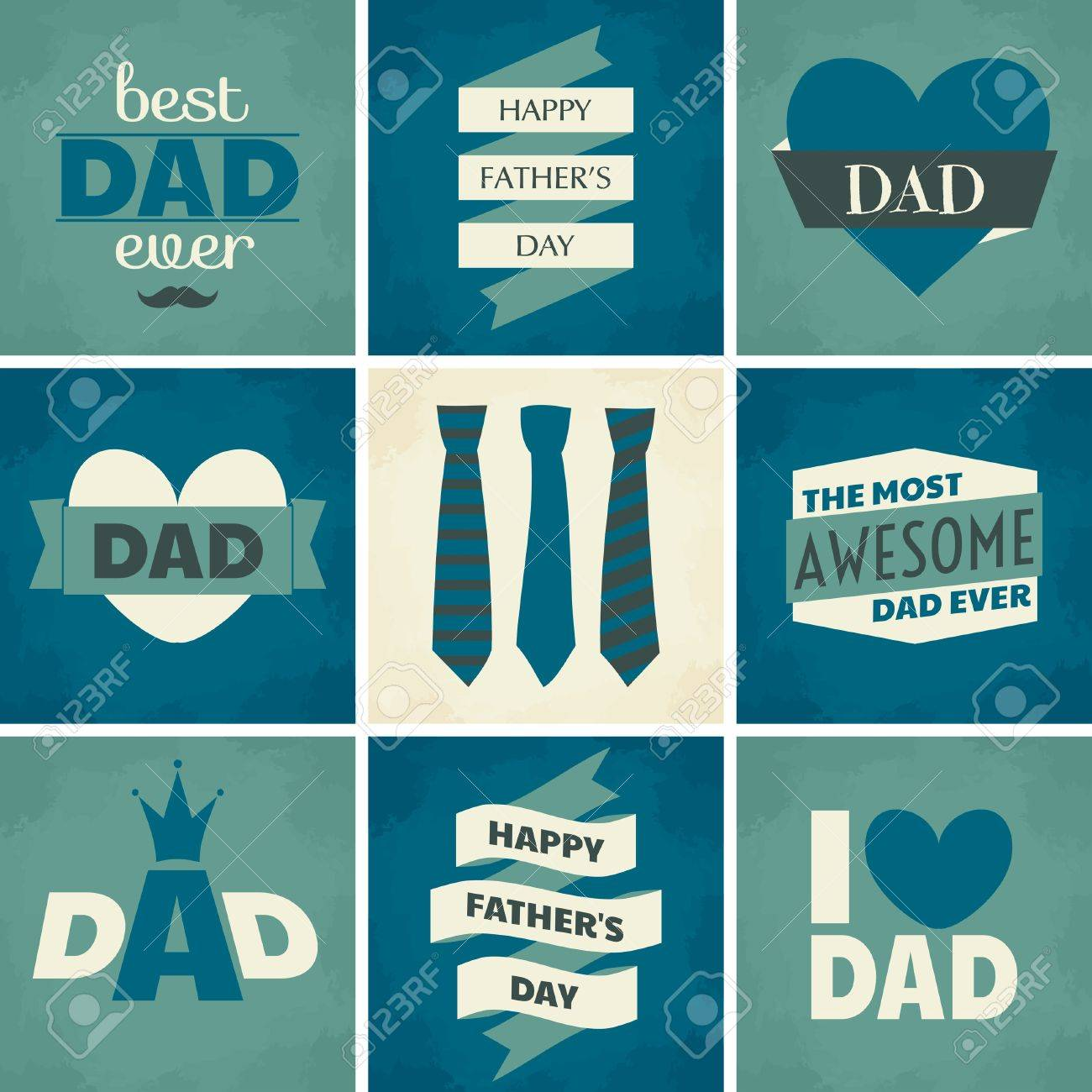 A Set Of Nine Greeting Cards For Fathers Day Royalty Free Cliparts