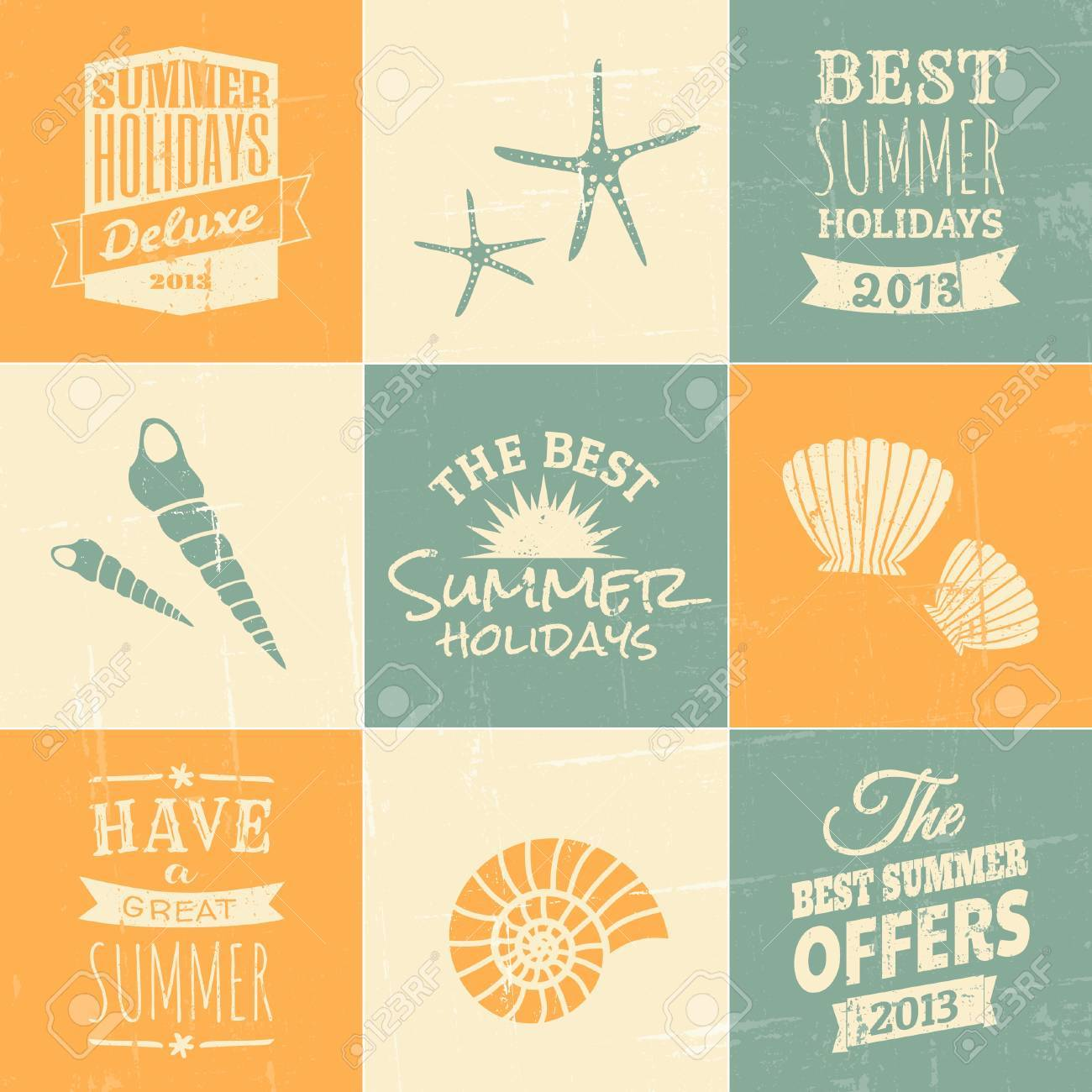 A set of summer typographic designs and icons in blue, beige and yellow. Stock Vector - 20989419