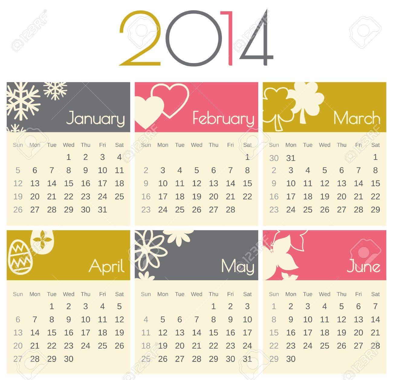 Minimalist design for a 2014 calendar (January to June). Stock Vector - 21086697