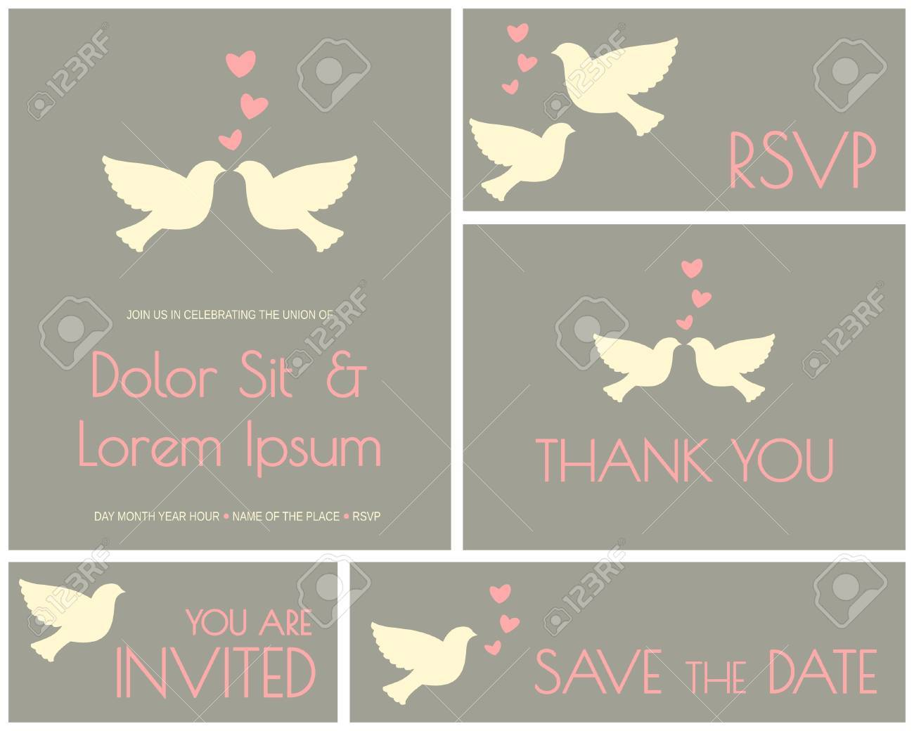 A set of minimalist design cards for wedding, engagement, bridal shower, etc. Stock Vector - 21306157
