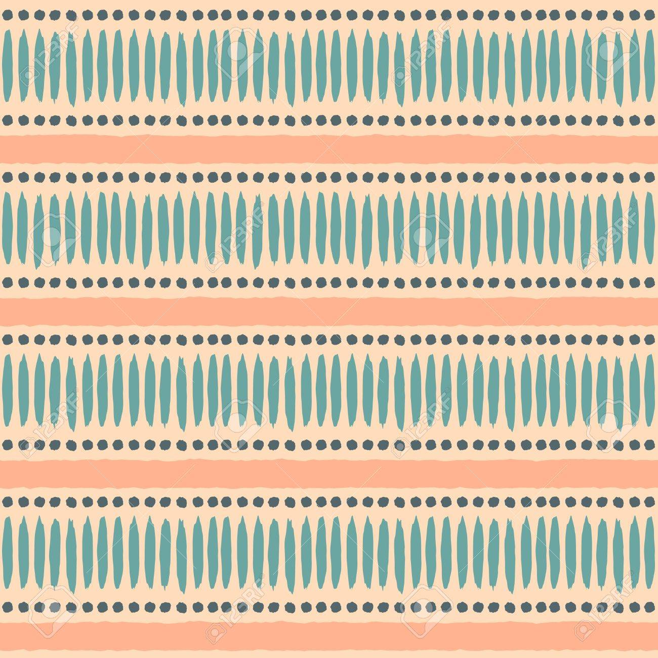 Seamless ethnic pattern in pastel orange and blue. Stock Vector - 22162964